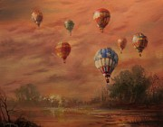 Hot Air Balloon Painting Posters - Magnificent Seven Poster by Tom Shropshire