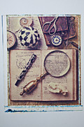 Scissors Framed Prints - Magnifying glass on old book Framed Print by Garry Gay