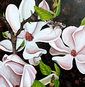 Tree Blossoms Paintings - Magnolia and Sphinx Moth by Renee Thompson