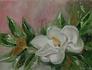 Interior Still Life Painting Metal Prints - Magnolia Blossom Metal Print by Sarah Parks