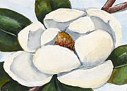 State Paintings - Magnolia on Blue by Elaine Hodges