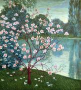 Reflecting Water Painting Posters - Magnolia Poster by Wilhelm List
