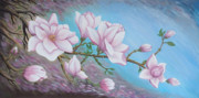 Pink Flower Branch Paintings - Magnolias branch by M S