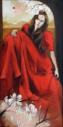 Dress Posters - Magnolias Red Dress Poster by Jacque Hudson-Roate