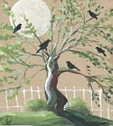 Crows Paintings - Magpie Crows Gathers by Sylvia Pimental