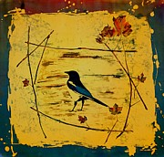 Gold Tapestries - Textiles Posters - Magpie Framed in Maple Poster by Carolyn Doe