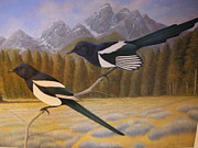 Magpies Paintings - Magpies by Alan Suliber