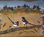 Magpies Tapestries Textiles - Magpies in the last of Autumns Leaves by Carolyn Doe