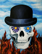 Rene Magritte Paintings - Magritte Bowler Hat Skull by Johanna Uribes