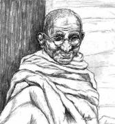 Tradition Pastels Framed Prints - Mahatma Gandhi Framed Print by Murali