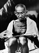 Gandhi Prints - Mahatma Gandhi Prepares For A Hunger Print by Everett