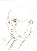 March Drawings Prints - Mahatma Gandhi Print by Priya Paul