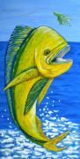 Dolphin Mixed Media Posters - Mahi Mahi Poster by JoAnn Wheeler