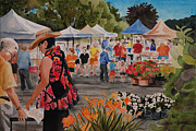 Crowd Scene Originals - Mahtomedi Farmers Market by Heidi E  Nelson
