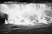 Niagara Falls Photos - Maid Of The Mist Boat Below The American And Bridal Veil Falls Niagara Falls Ontario Canada by Joe Fox