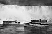 Poncho Photo Framed Prints - Maid Of The Mist Boats Below The American And Bridal Veil Falls Niagara Falls Ontario Canada Framed Print by Joe Fox