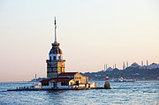 Byzantine Framed Prints - Maiden Tower in Istanbul Framed Print by Artur Bogacki