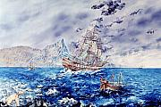 Tall Ships. Marine Art Paintings - Maiden Voyage by Richard Barham