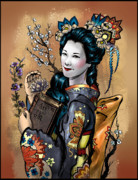 Cherry Art Mixed Media Prints - Maiko Comic Version Print by Consuelo Venturi