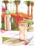 Boxes Paintings - Mail-box-in-Palm-Springs-CA by Carlos G Groppa