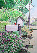 Watercolor Prints - Mail Boxes Sketchbook Project Down My Street Print by Irina Sztukowski