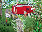 Red Flowers Tapestries - Textiles - Mail Car Guest House at LaCaboose B and B by Charlene White