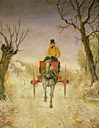 Driving Painting Framed Prints - Mail Cart Christmas Framed Print by R R Ripley