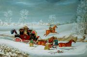 Winter Scenes Rural Scenes Prints - Mail Coach in the Snow Print by John Pollard