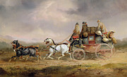Carriage Horses Paintings - Mail Coaches on the Road - The Louth-London Royal Mail Progressing at Speed by Charles Cooper Henderson