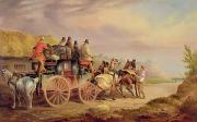 Carriage Horses Paintings - Mail Coaches on the Road - The Quicksilver  by Charles Cooper Henderson