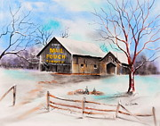 West Virginia Pastels - Mail Pouch Barn Nutter Fort WV by Paul Cubeta
