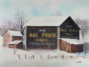 Ohio Pastels Prints - Mail Pouch Barn Ohio Print by Paul Cubeta
