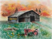 America Pastels Posters - Mail Pouch Barn West Virginia 3 Poster by Paul Cubeta