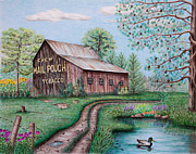 Color Pencils Prints - Mail Pouch Tobacco Barn Print by Lena Auxier