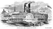 Ohio River Framed Prints - MAIL STEAMBOAT, 1854. /nThe Louisville Mail Company steamboat Jacob Strader. Wood engraving, 1854 Framed Print by Granger