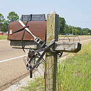 Rusted Cars Posters - Mailbox Security Poster by Cheri Randolph