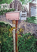 Sketch Book Prints - Mailbox Sketchbook Project Down My Street Print by Irina Sztukowski
