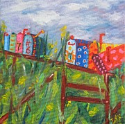 Outdoor Still Life Paintings - Mailboxes In Santa Fe by Irit Bourla