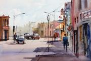 Impressionism Tapestries Textiles Originals - Main Street - Wautoma by Ryan Radke