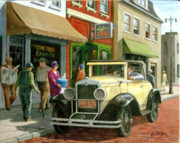 Old Buildings Paintings - Main Street 1929 by Edward Farber