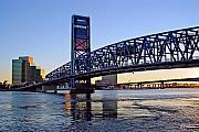 Jacksonville Photo Posters - Main Street Bridge at Sunset Poster by Rick Wilkerson