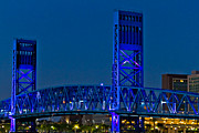 Jacksonville Photo Posters - Main Street Bridge Jacksonville Poster by Debra and Dave Vanderlaan