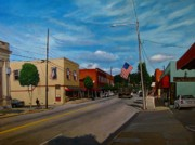 Patriotism Painting Posters - Main Street Clayton NC Poster by Doug Strickland