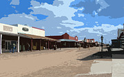 Main Street Mixed Media Prints - Main Street in Tombstone Print by AZ Group