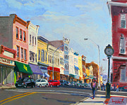 Hudson Painting Framed Prints - Main Street Nayck  NY  Framed Print by Ylli Haruni