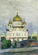 Moscow Painting Posters - Main Temple of Russia Poster by Juliya Zhukova