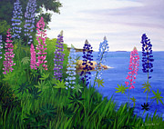 Maine Artist Paintings - Maine Bay Lupine Flowers by Laura Tasheiko