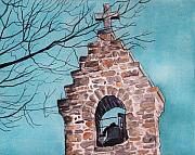 Religious Art Painting Originals - Maine Bell Tower by Brenda Owen