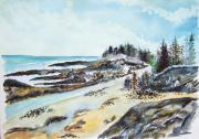 Jan Anderson Watercolors - Maine coast and beach by Jan Anderson