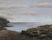 Maine Shore Painting Prints - Maine Coast at Evening Print by Gene Foust